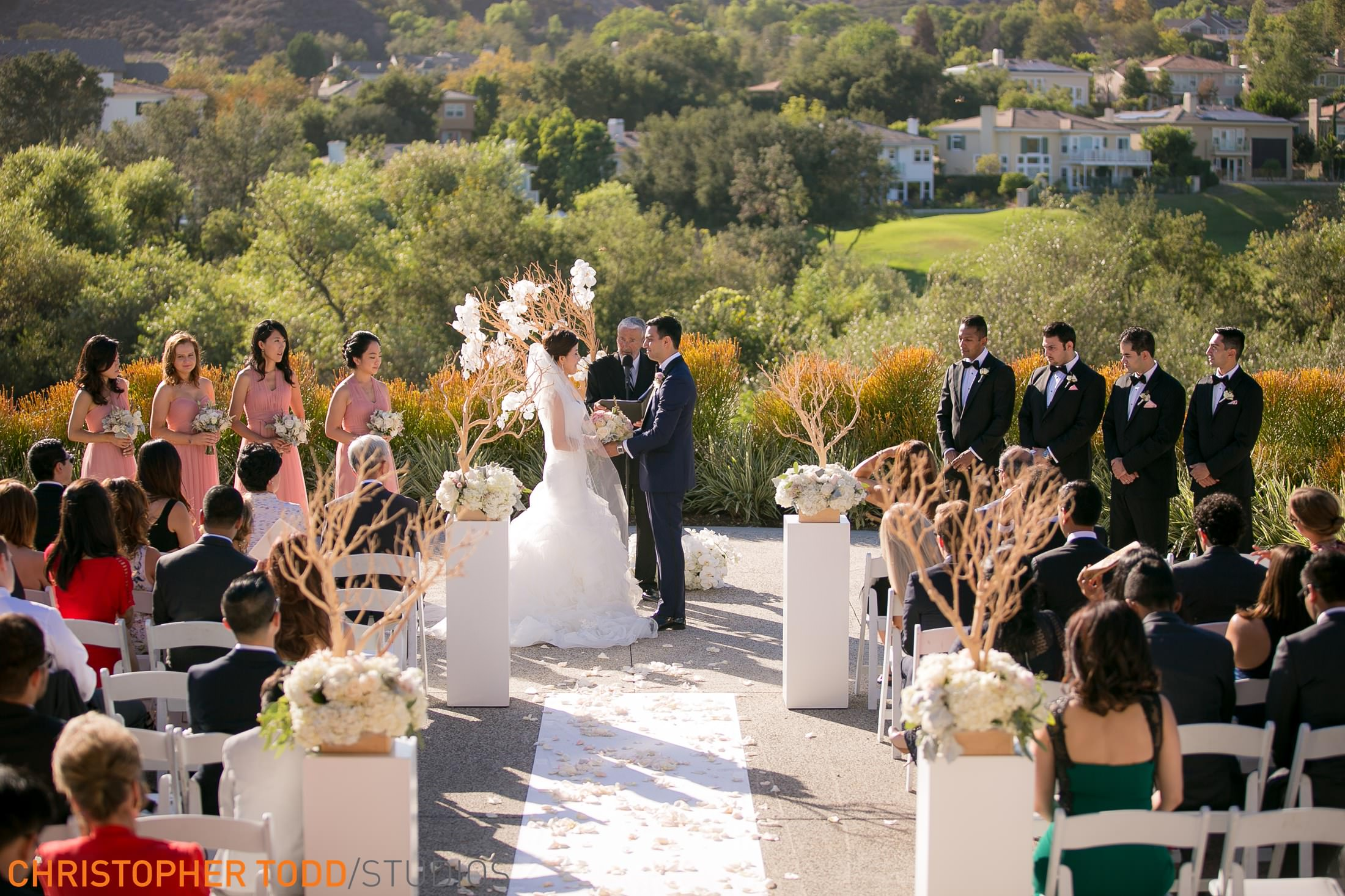 beautiful ceremony pic of couple exchanging vows