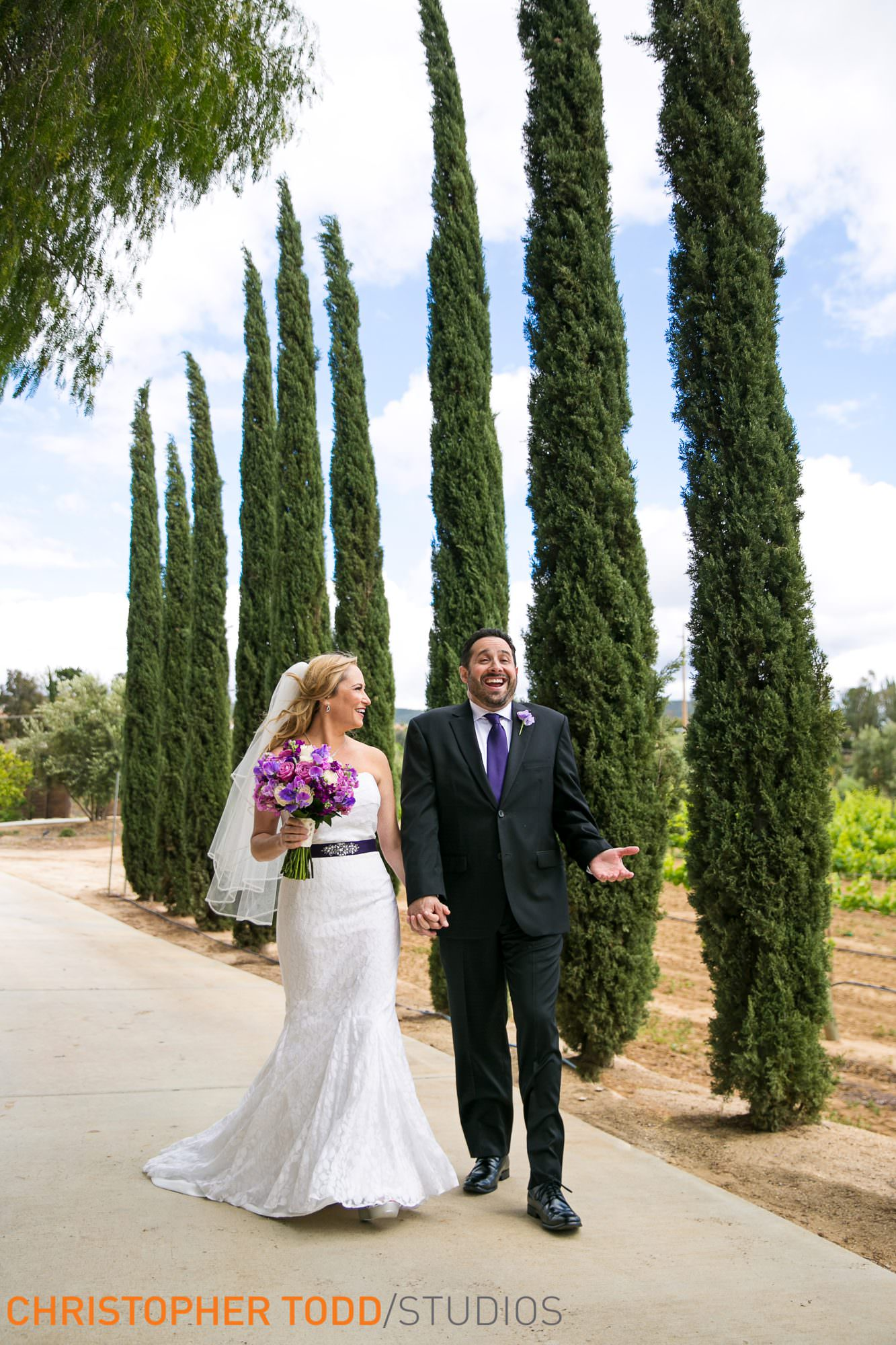bride and groom strolling through the grounds of danza del sol temecula photographer
