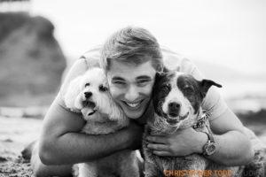 Laguna Beach family portrait with dogs