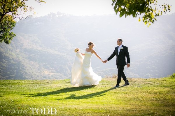 Bride and Groom just after the ceremony at Soka University overlooking the foothills.