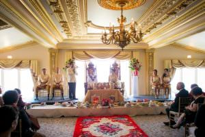cambodian wedding ceremony in traditional costume