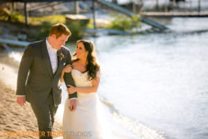 couples first look at lake arrowhead wedding