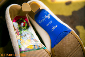 Bridal shoes with custom painting on the soles