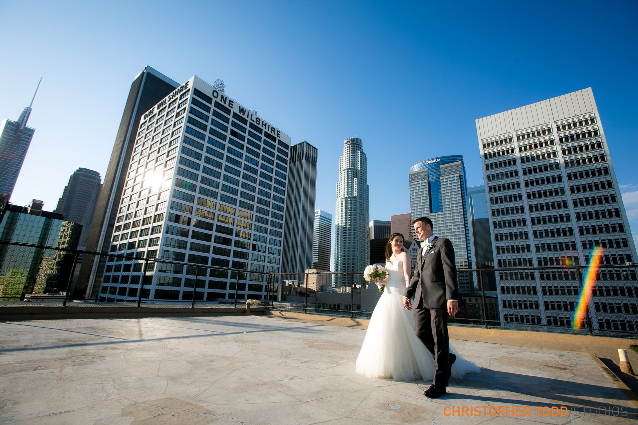 athletic club los angeles wedding portrait
