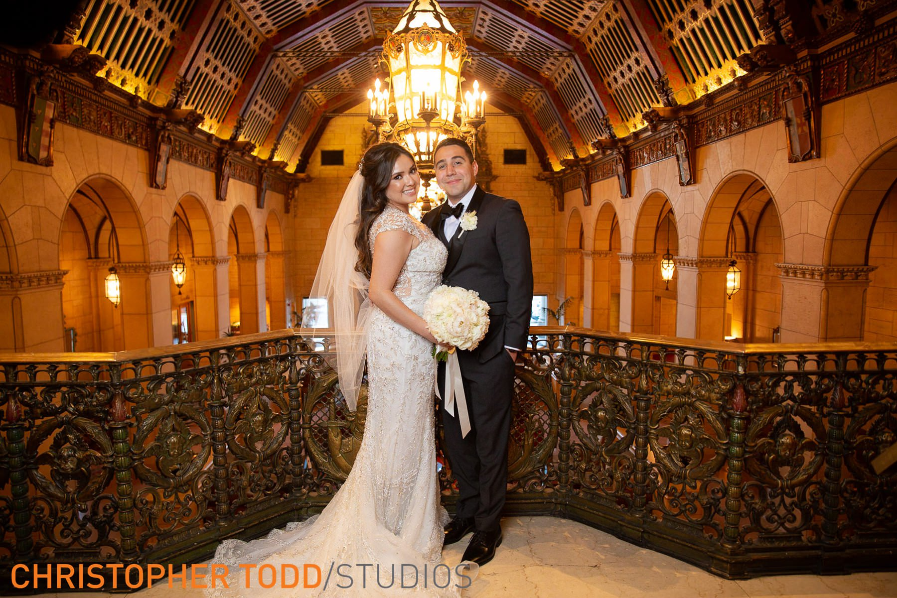 bride-&-groom-at-millennium-biltmore-hotel