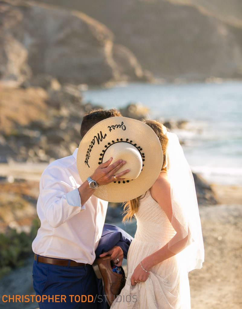 couples elopement portrait on beach at Catalina island