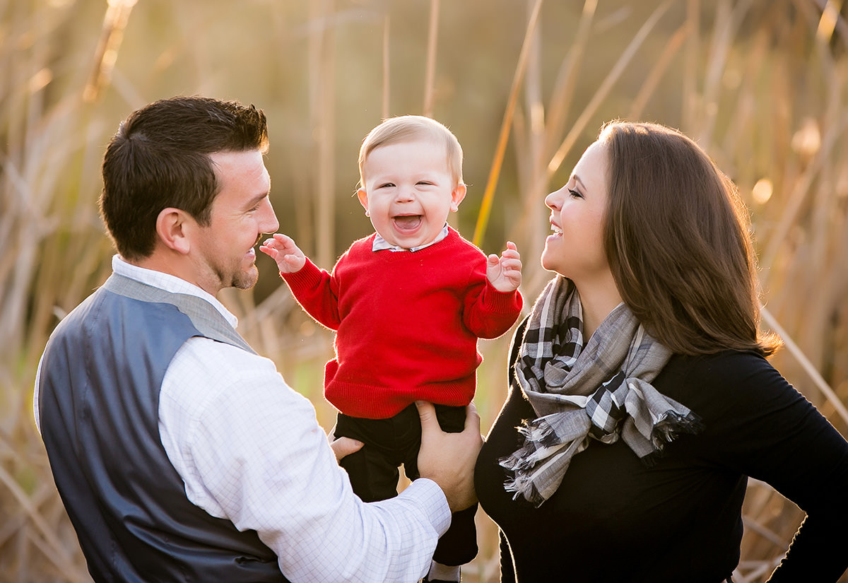 parents with baby during portrait session
