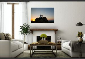 canvas photograph on family room wall from wedding