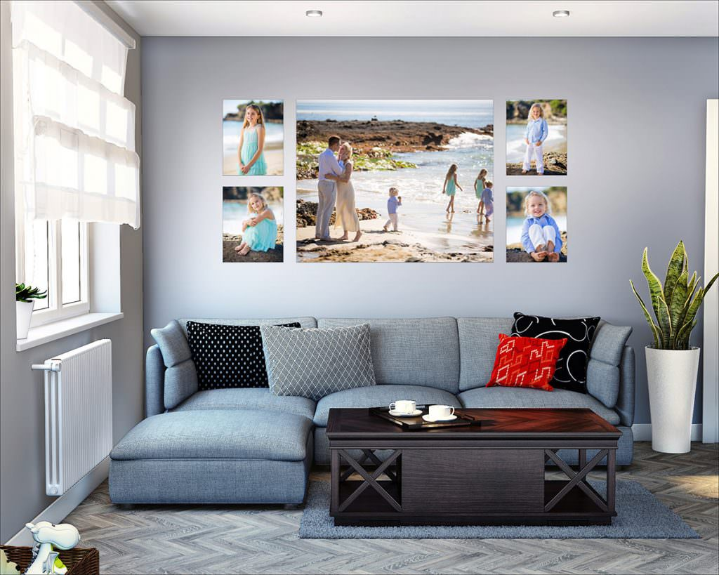 photo of living room with wall art hanging up.