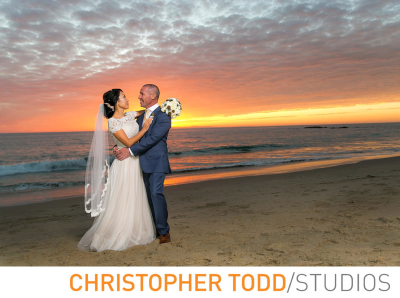 surf-sand-resort-bride-groom-sunset-portait