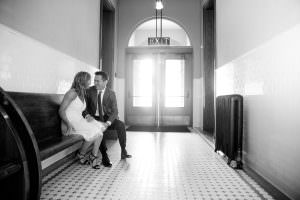 couple waiting for civil ceremony at courthous